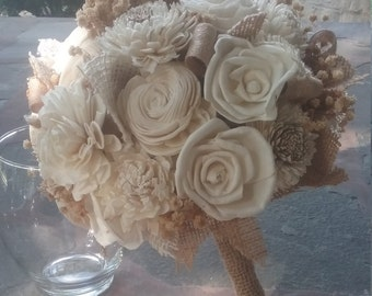 Sola Flower Wedding Bouquet, Bridal Bouquet, Rustic Wedding