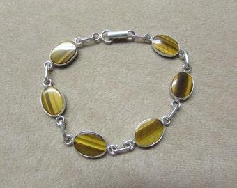 Tiger's Eye STERLING silver 6-stone cabochon bracelet.