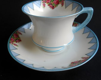 Art Deco Paragon Teacup And Saucer, Blue Geometric And Floral Pattern, C.1920's