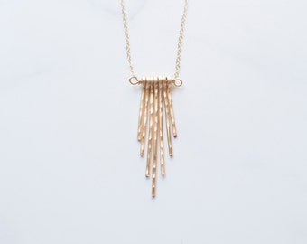 Gold Quartz Drops Long Necklace