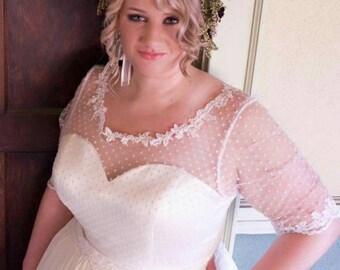 Wedding Dress Shop, Chiffon and Lace Wedding Dress with Swiss Dot, Unique Wedding Dress, Swiss dot wedding dress, Ivory Swiss Dots