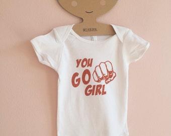 GO GIRL baby onesie romper / baby bodysuits