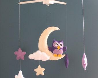 Purple owl mobile, star mobile, moon mobile - Baby Felt Mobile