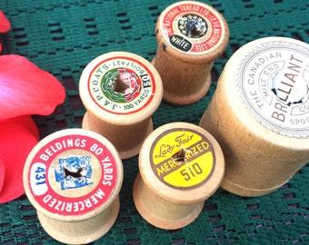 Vintage Sewing Spool, Empty Spool, Vintage Wooden Spool, Thread Spool, Lot of 5 Empty Spools, Craft Supply