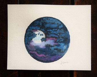 Big old moon - Watercolor