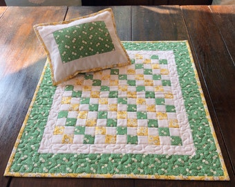 Green and Yellow Patchwork Dolly Quilt and Pillow