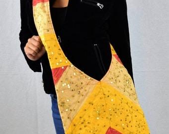Womens Bag Vintage Hand Made Hippie Boho Retro Fab Sling Shoulder Bag with Sequin Detail Bollywood