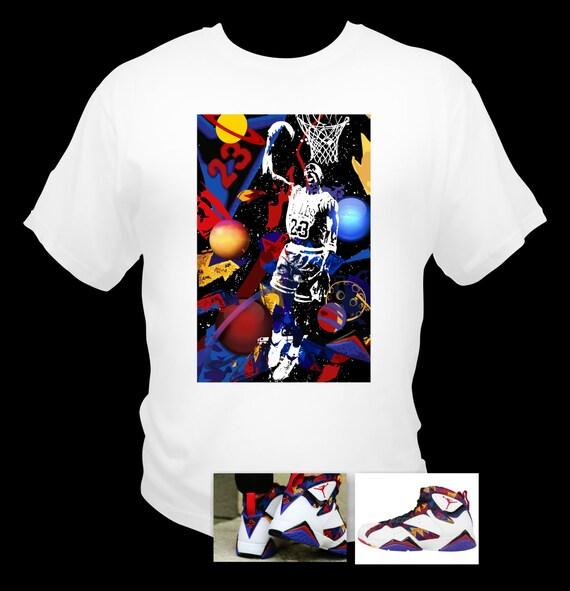 Men's Air Jordan Retro 7 Basketball Sweater White T-Shirt Abstract Art Made to Match Shoes