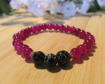 Fuchsia and black bracelet