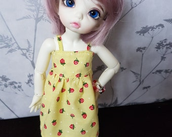Yellow Strawberry Summer Dress for Littlefee