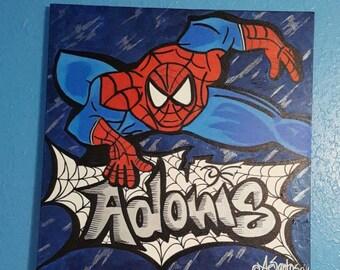 Personalized handmade Spiderman's web art on canvas