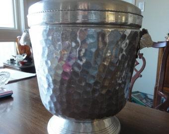 1950s Vintage Hammered Aluminum Ice Bucket