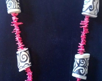 carved antler and branch coral necklace
