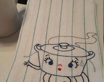 "Vintage Tea Towel: ""Worried Pot"""