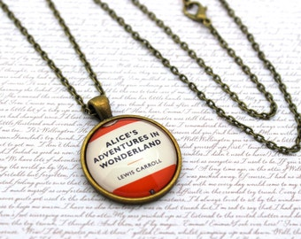 Alice's Adventures In Wonderland, Lewis Carroll, Penguin Book Cover, Book Necklace or Keychain, Keyring