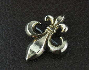 Vintage Symmetalic Gold Brooch Pin, Symmetalic Jewelry, Vintage Fleur de Lis Brooch, Vintage Gold Pin, Collectible Jewelry