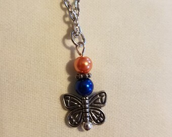 Orange/blue beaded butterfly necklace