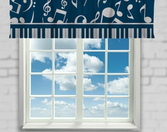 Musical Notes Window Curtain or Valance Custom Made, Music Theme Window Curtains or Valances, personalized with color options - SALE