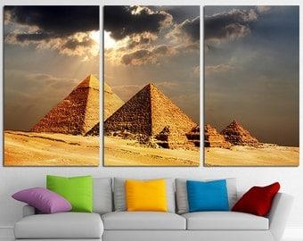 Giza Pyramids Large Canvas Print Wall Art Set Egypt Pyramids Poster Egypt Pyramids Canvas Art Pyramids Print Giza Pyramids Photo Wall Decor