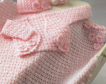 Instant Download PDF Vintage Baby Crochet Pattern Bolero Jacket Hat & Blanket Throw in 8 Ply Double Knitting Worsted weight