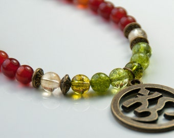 Prosperity Abundance, Yoga OM gemstone necklace,Carnelian, Citrine, Peridot Necklace, Meditation Healing Necklace,Buddhist Necklace,Boho