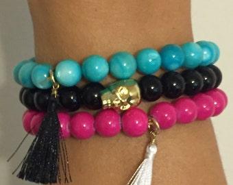 Set of 3 Tassel and Skull Bracelets