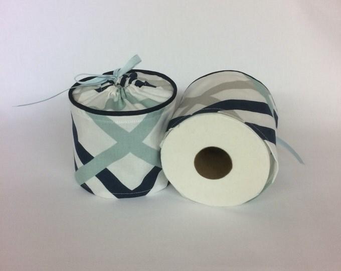 Toilet Paper Cover, Toilet Paper Holder, Blue White Bathroom, Nautical Decor, Bathroom Decor,