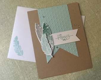 Handmade All Occasion Card; Hand Stamped All Occasion Card