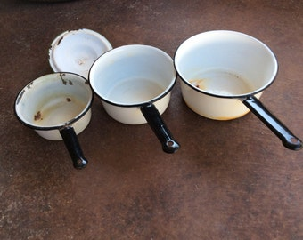 Vintage Black and White Enamelware Pots w/1 Green and White Lid