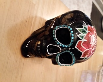 """Handmade Decoupage Skull Collectible/""""Tattoo""""/Rockabilly/Lace/Rose/Gold tooth/Tattoo flash/[DCS006]"""
