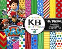 "Paw Patrol Digital Paper Pack - 30 Papers - 11 Clipart - 12""x12"" - Printable Paper - Digital Scrapbooking - Instant Download -"
