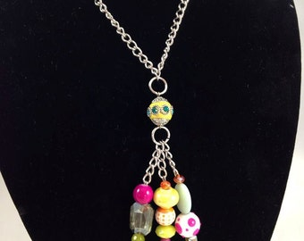 Whimsical colorful Crystal and Porcelain Beaded Necklace with Silver chain. Colorful Necklace