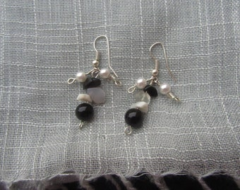 Jasper Obsidian Earrings Black and White Earrings Cluster Earrings Faux Pearl Earrings