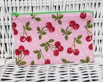 Cherry zipper pouch
