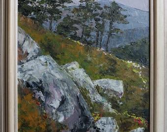 Original oil painting, nature, mountain landscape, Velebit Mountain in Croatia, framed