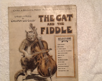 Rare Vintage The Cat and The Fiddle Art by H.G. Chillberry, Lyrics and Music by Carlleten Lee Colby