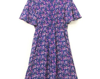 1990s floral spring dress, vintage, purple flowers