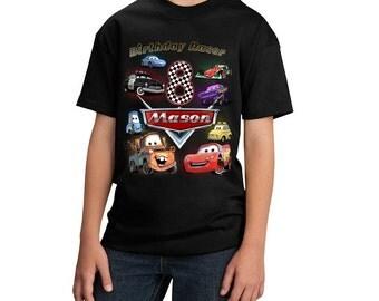 Disney Cars Birthday Shirt Lightning McQueen Birthday Shirt Custom personalized shirts for all family, Black
