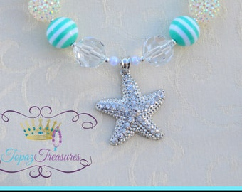 Starfish Children's Chunky Necklace - turquoise & white