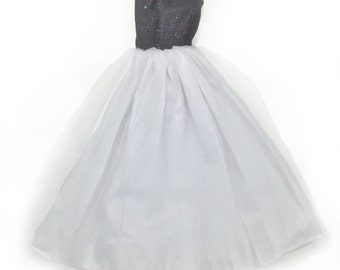 Barbie doll clothes, Black and White Barbie Prom Dress, Barbie clothes, princess dress for Barbie