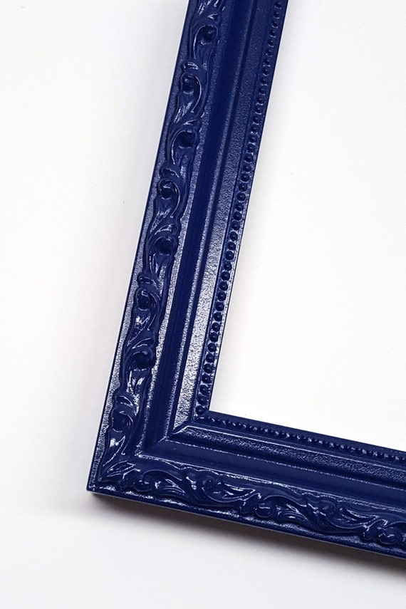 navy blue ornate solid wood photo picture frame shabby chic style with no glass from. Black Bedroom Furniture Sets. Home Design Ideas