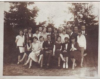 Vintage Photo - Friends photo - Young women and men photo - Group photo - Vintage Snapshot - Polish Photo - Prewar photo - 1930s Photo