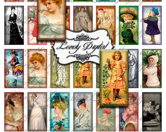 "2"" x 1"" Digital Download Rectangle Victorian Girls Jewelry Charm Scrapbook Embellishment Printable Collage Sheet"