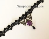 Gothic black lace chokers,Halloween Purple Rose chokers, gothic lolita accessories, Victorian choker, necklace, Steampunk, Vampire, gifts