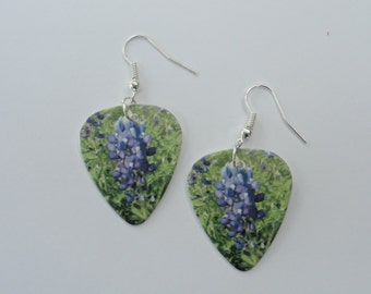 Guitar Pick Jewelry - Earrings - Bluebonnets - Wildflower - Music - Jewelry - Flower - Texas