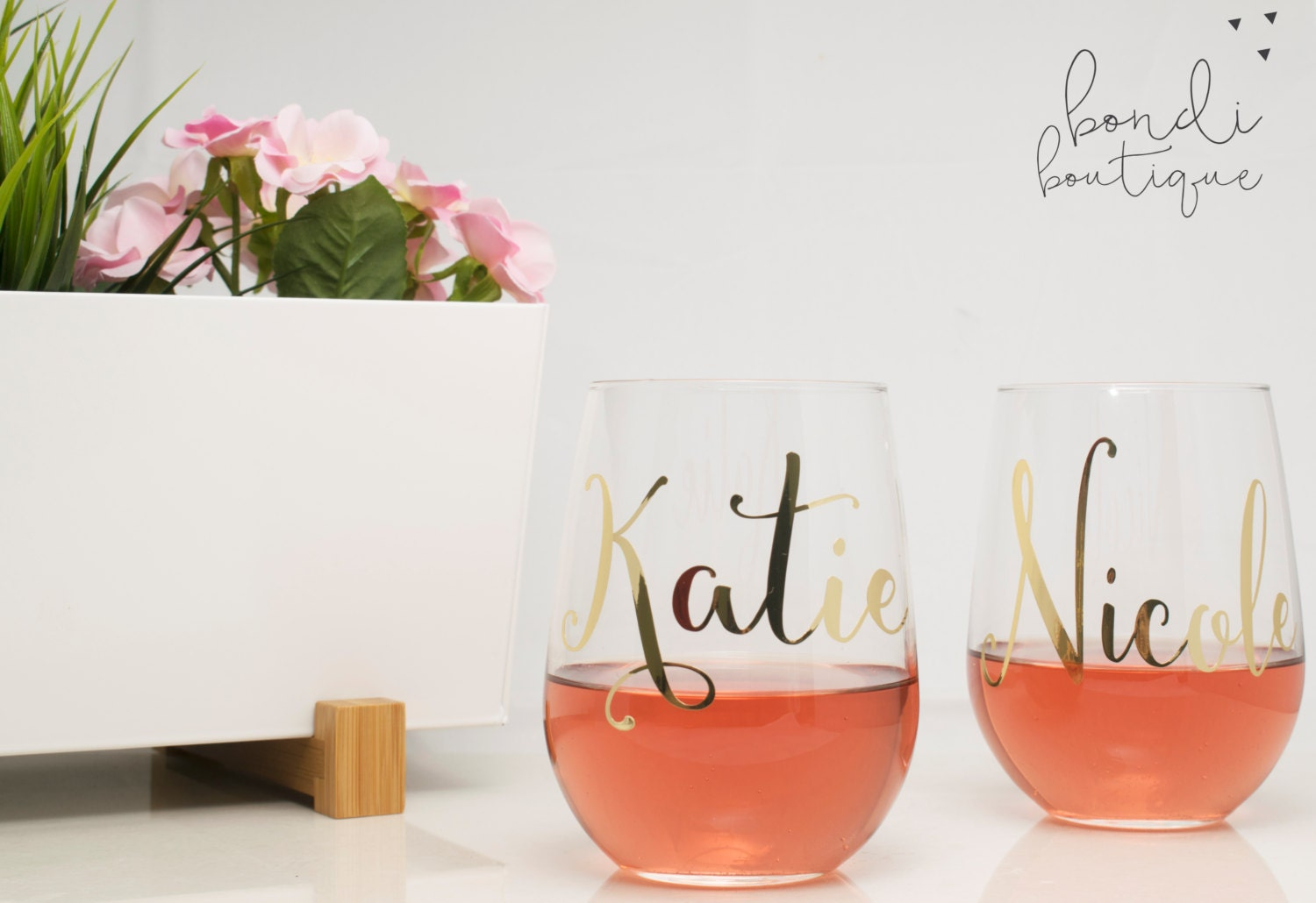 Wedding Personalized Stemless Wine Glasses personalized wine glasses stemless glass bachelorette