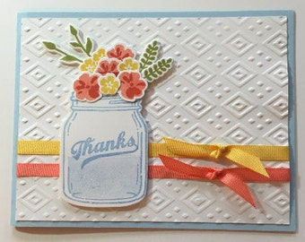 Hand Stamped Thank You Card, Stampin' Up