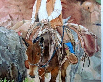 Cowboy painting western art original watercolor Grand Canyon mule painting 11x15