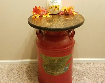 Vintage Eagle Milk Can Table, Authentic, Entryway table, accent table, rustic, side table, Americana decor, country decor