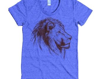 Lion T Shirt - Lion Head T Shirt - Lionhead Tee - African Lion Shirt - Women's American Apparel T Shirt - Item 1031 - Maroon Ink